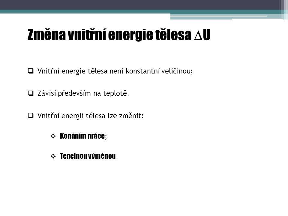 Změna vnitřní energie tělesa U