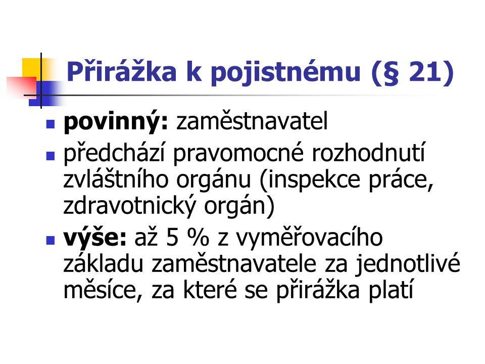 Přirážka k pojistnému (§ 21)