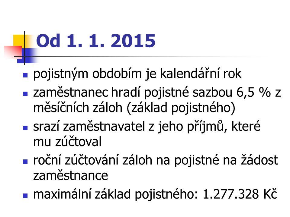 Od 1. 1. 2015 pojistným obdobím je kalendářní rok