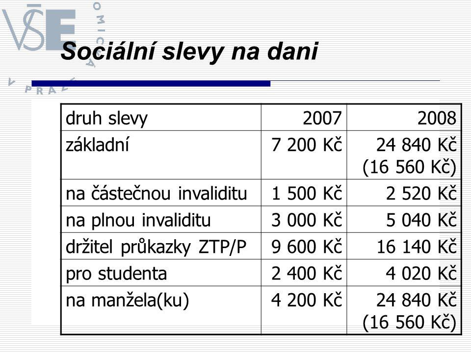 Sociální slevy na dani druh slevy 2007 2008 základní 7 200 Kč