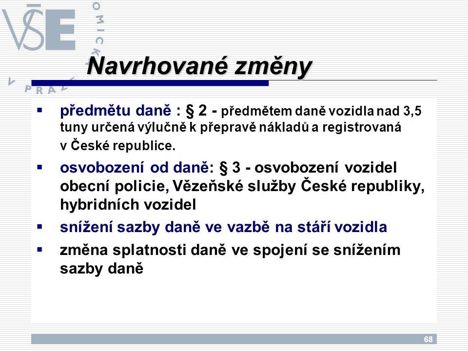 Navrhované změny předmětu daně : § 2 - předmětem daně vozidla nad 3,5 tuny určená výlučně k přepravě nákladů a registrovaná v České republice.