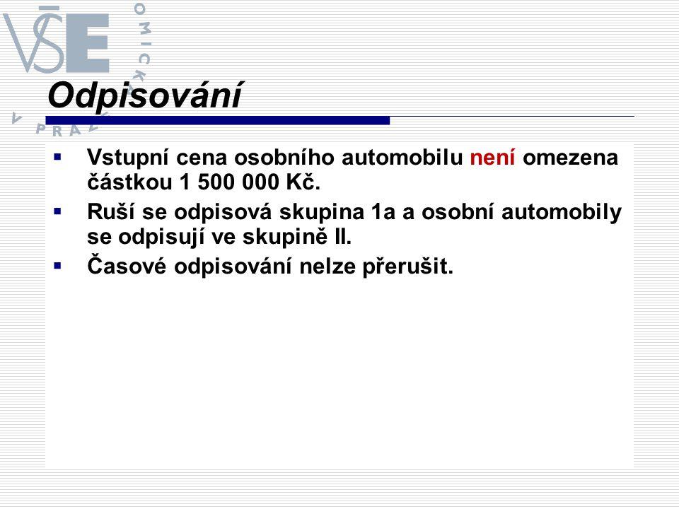 Odpisování Vstupní cena osobního automobilu není omezena částkou 1 500 000 Kč.