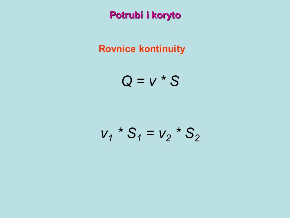 Potrubí i koryto Rovnice kontinuity Q = v * S v1 * S1 = v2 * S2