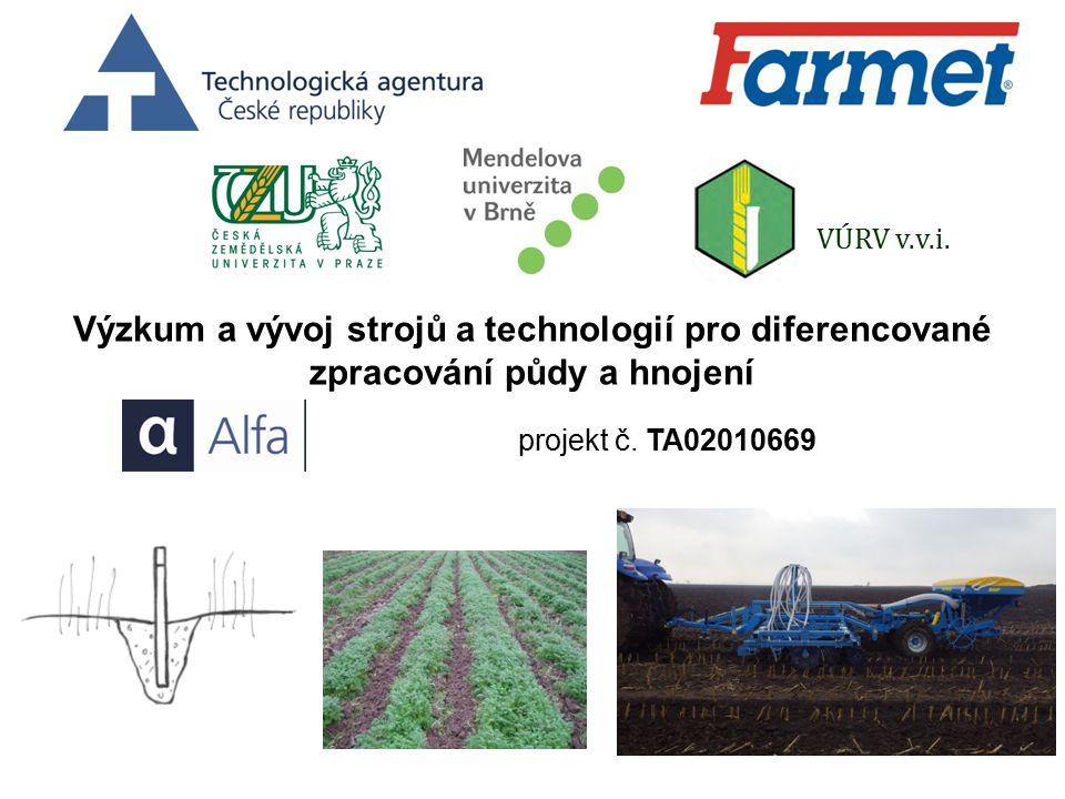 VÚRV v.v.i. Výzkum a vývoj strojů a technologií pro diferencované zpracování půdy a hnojení.