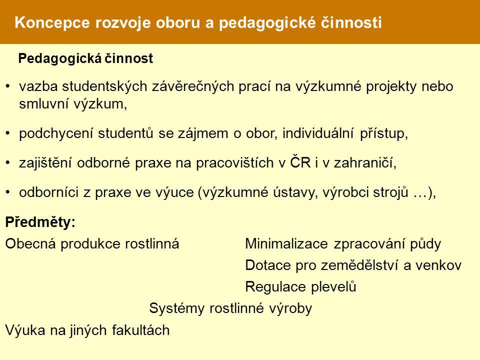 Koncepce rozvoje oboru a pedagogické činnosti