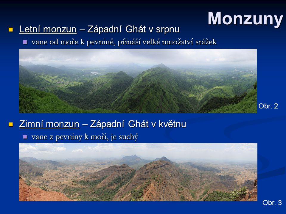 Monzuny Letní monzun – Západní Ghát v srpnu