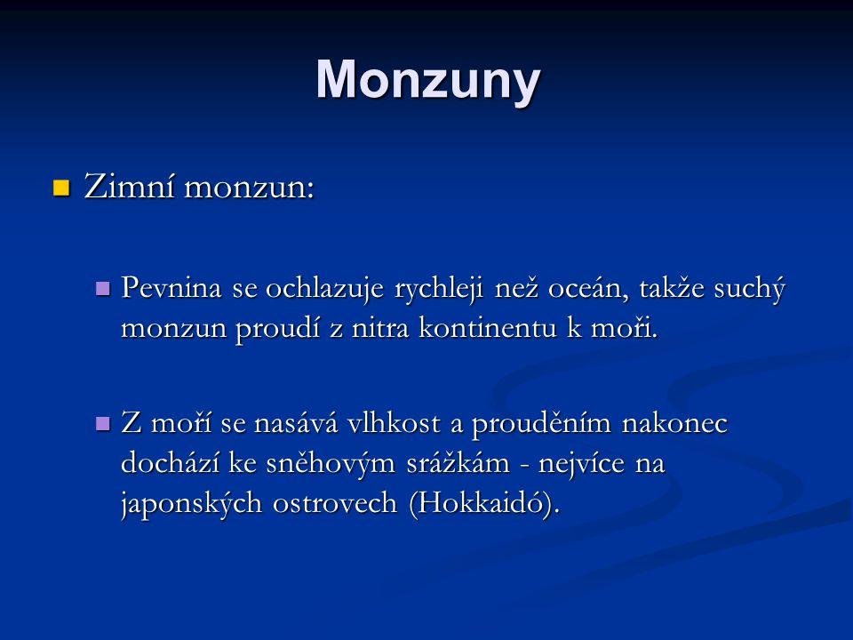 Monzuny Zimní monzun: Pevnina se ochlazuje rychleji než oceán, takže suchý monzun proudí z nitra kontinentu k moři.