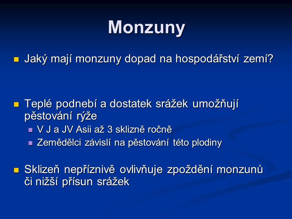 Monzuny Jaký mají monzuny dopad na hospodářství zemí