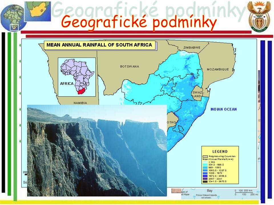 Geografické podmínky Nejjižnější cíp afrického kontinentu