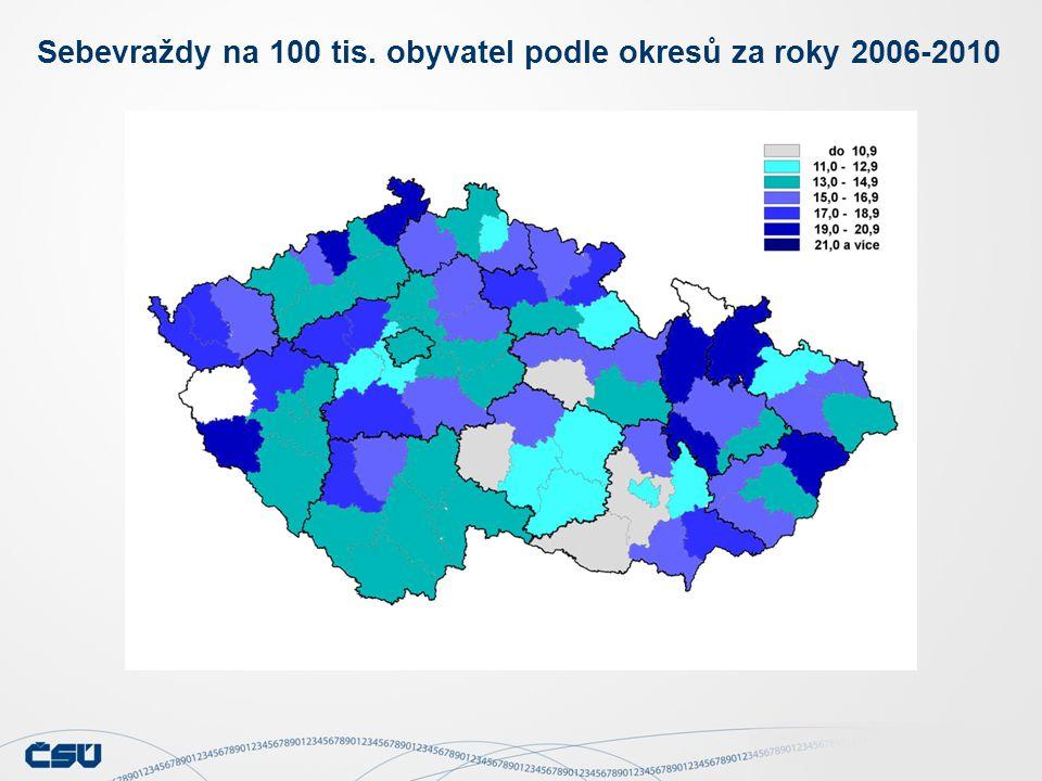 Sebevraždy na 100 tis. obyvatel podle okresů za roky 2006-2010