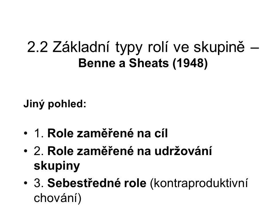 2.2 Základní typy rolí ve skupině – Benne a Sheats (1948)