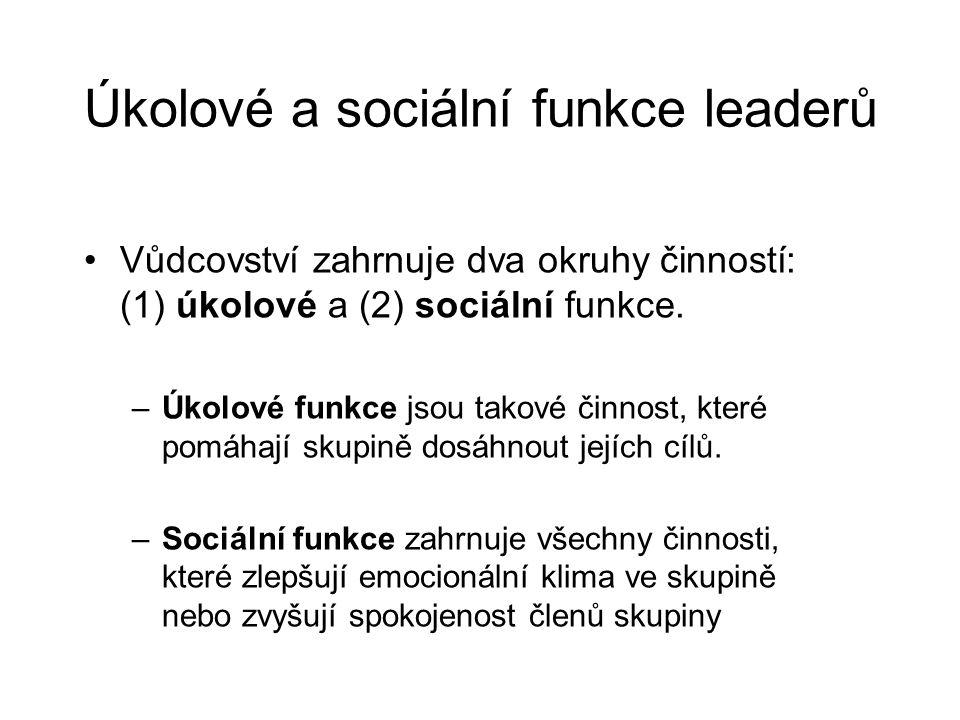 Úkolové a sociální funkce leaderů