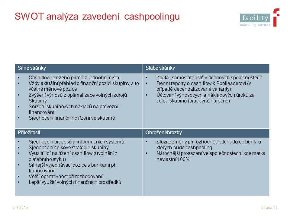 SWOT analýza zavedení cashpoolingu