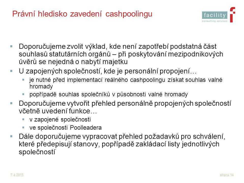 Právní hledisko zavedení cashpoolingu