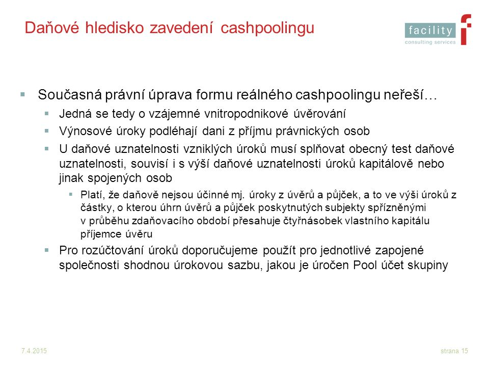 Daňové hledisko zavedení cashpoolingu