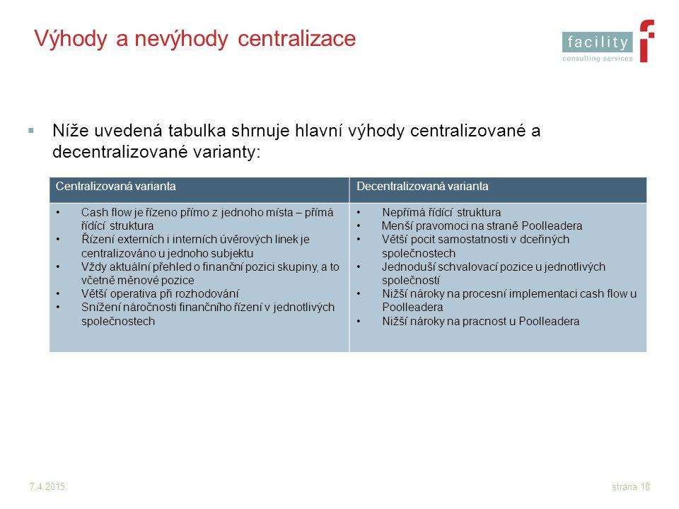 Výhody a nevýhody centralizace
