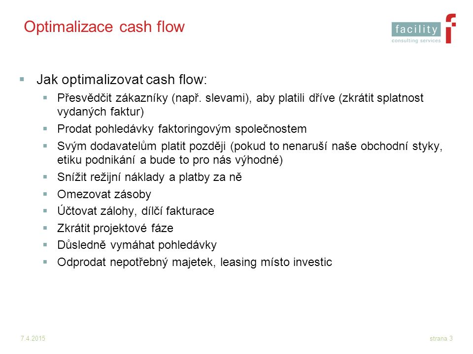 Optimalizace cash flow