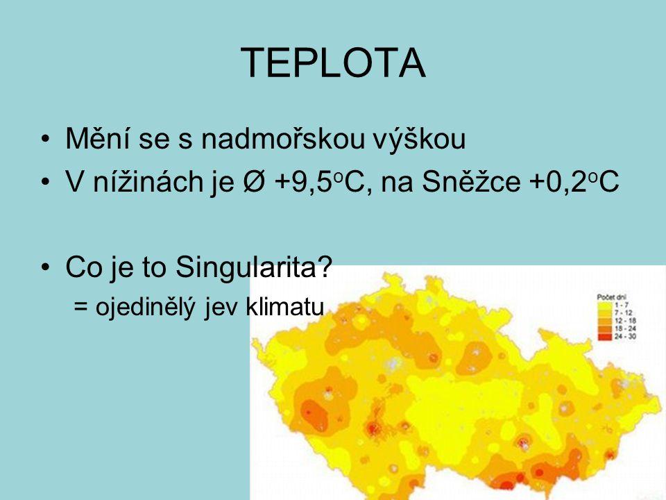 TEPLOTA Mění se s nadmořskou výškou