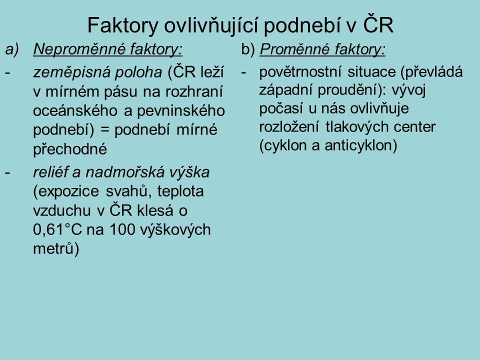 Faktory ovlivňující podnebí v ČR