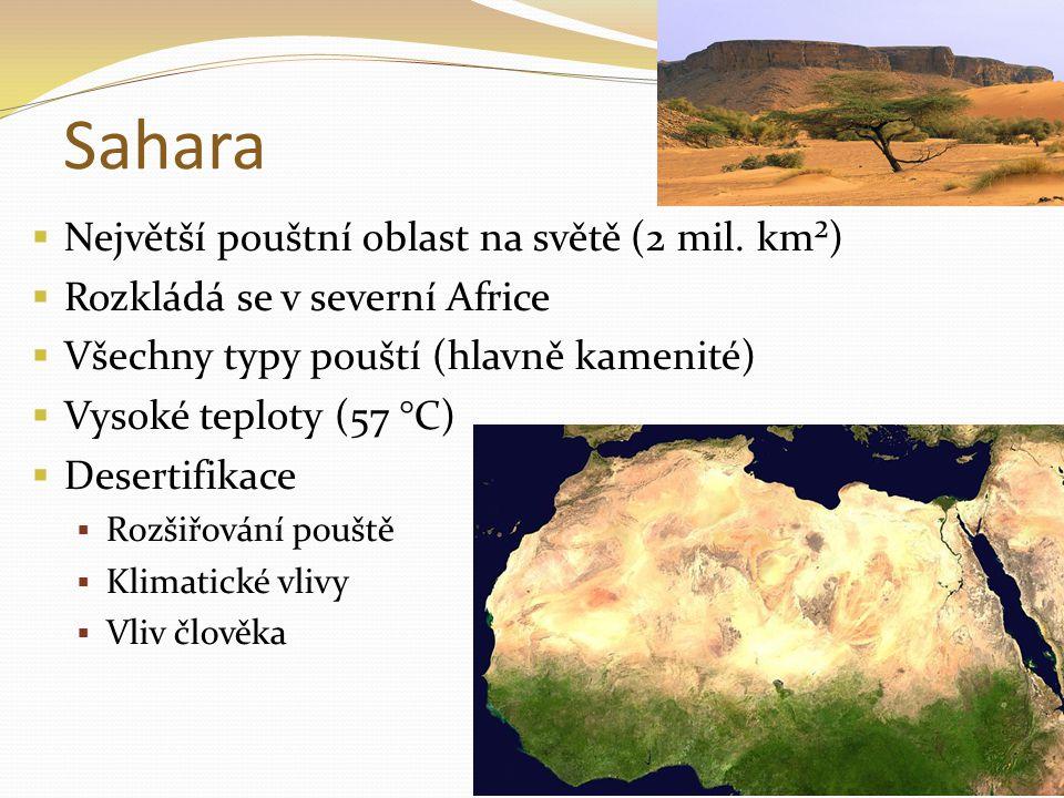 Sahara Největší pouštní oblast na světě (2 mil. km²)