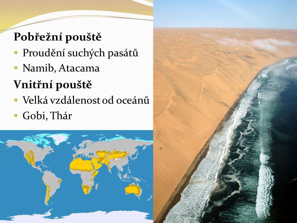 Pobřežní pouště Vnitřní pouště Proudění suchých pasátů Namib, Atacama