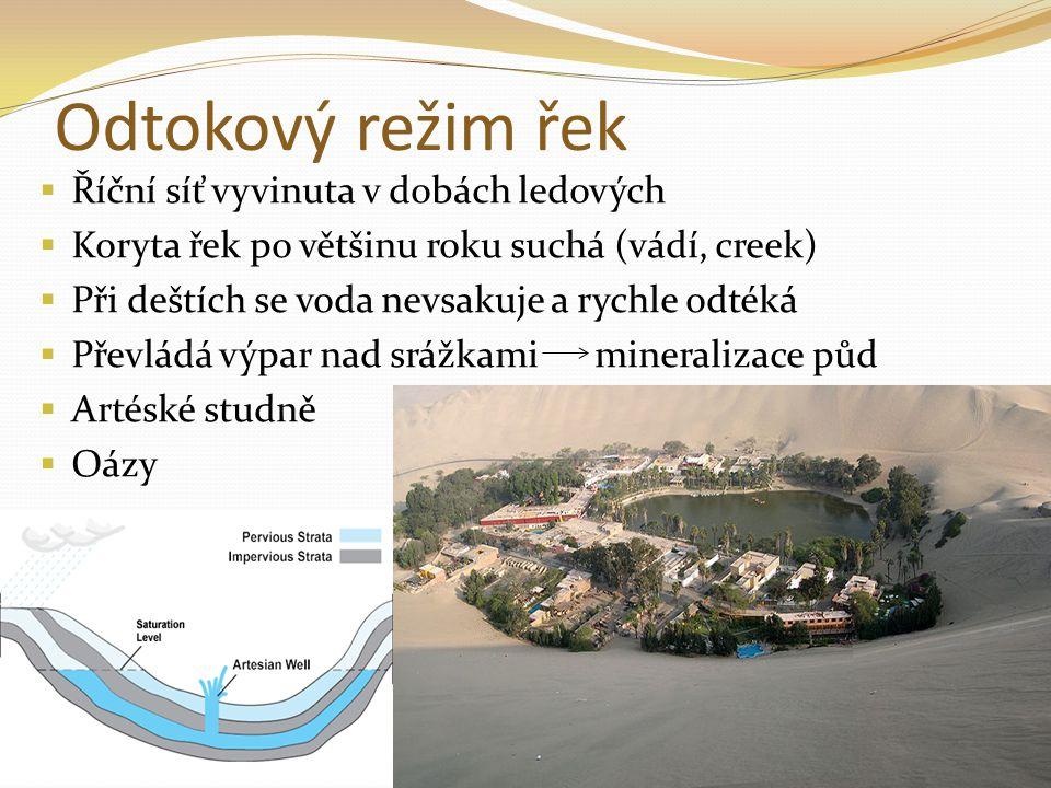 Odtokový režim řek Říční síť vyvinuta v dobách ledových