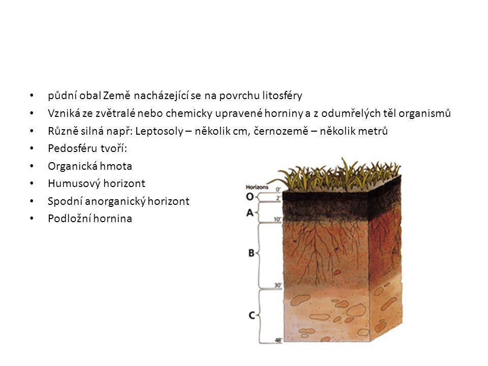 půdní obal Země nacházející se na povrchu litosféry