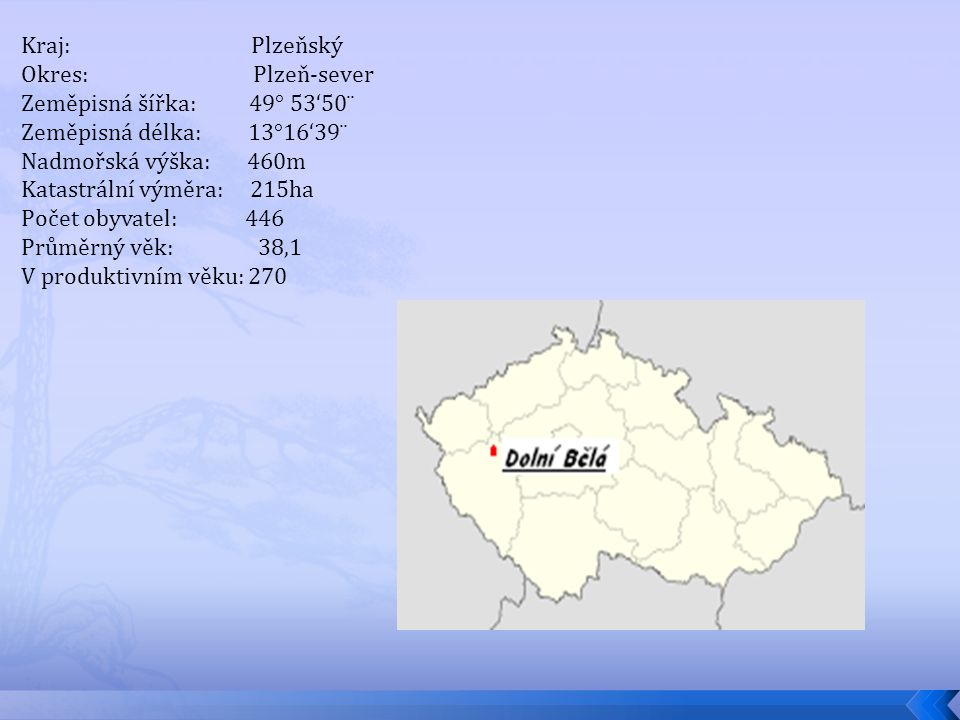 Katastrální výměra: 215ha Počet obyvatel: 446 Průměrný věk: 38,1
