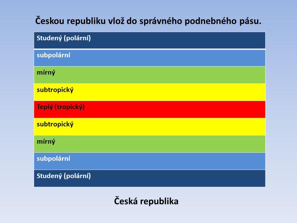 Českou republiku vlož do správného podnebného pásu.
