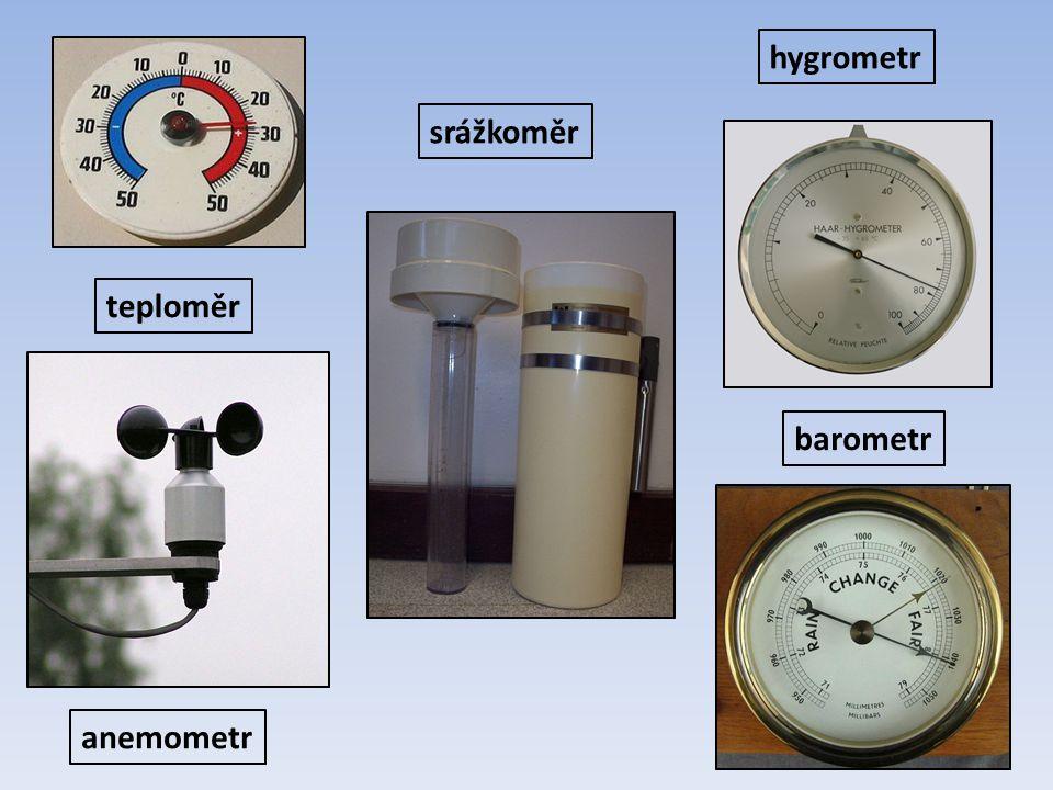 hygrometr srážkoměr teploměr barometr anemometr