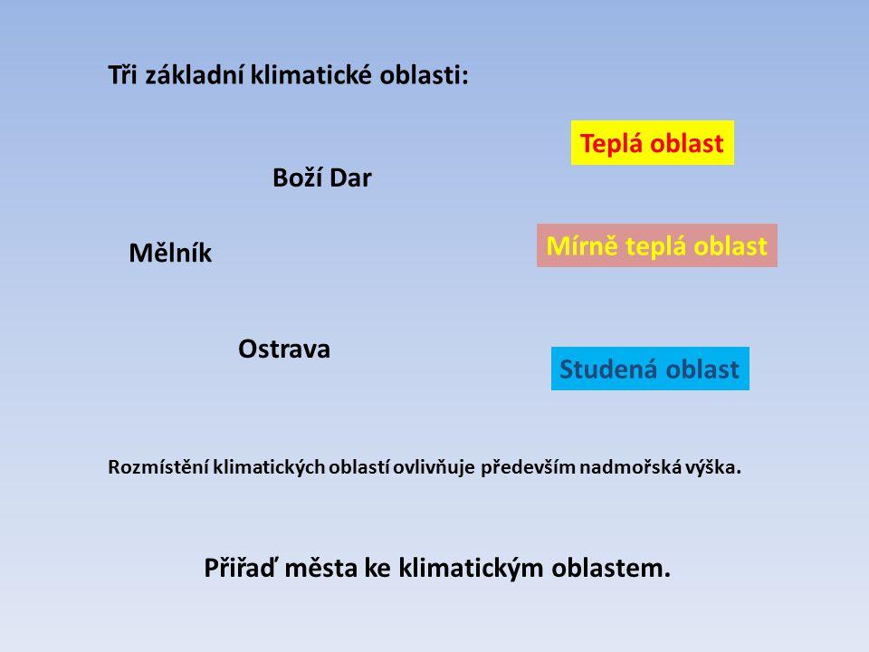 Tři základní klimatické oblasti: