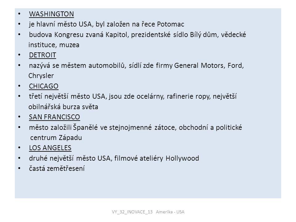 VY_32_INOVACE_13 Amerika - USA