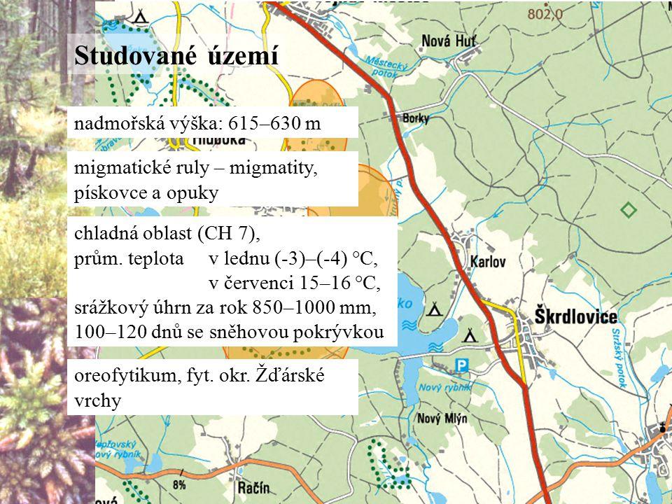 Studované území nadmořská výška: 615–630 m