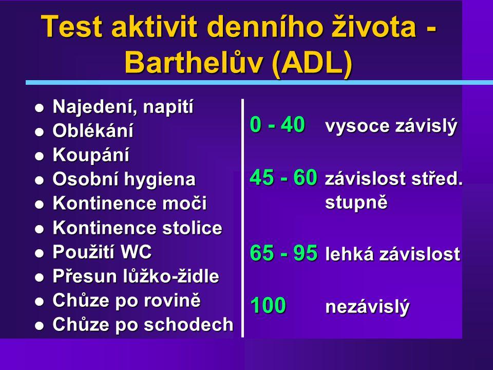 Test aktivit denního života - Barthelův (ADL)