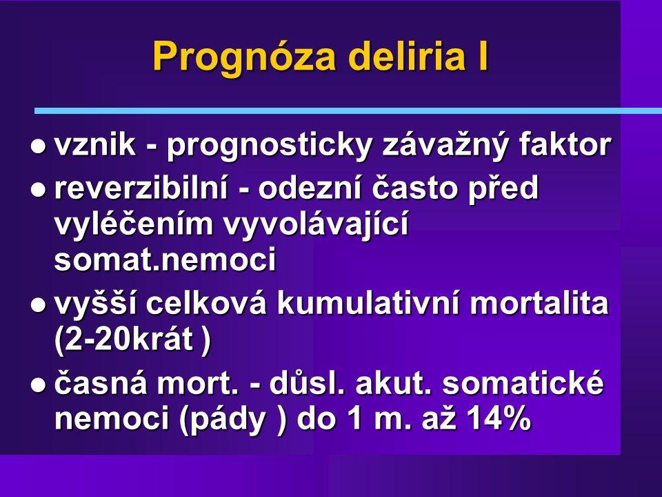 Prognóza deliria I vznik - prognosticky závažný faktor