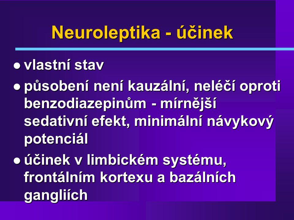 Neuroleptika - účinek vlastní stav