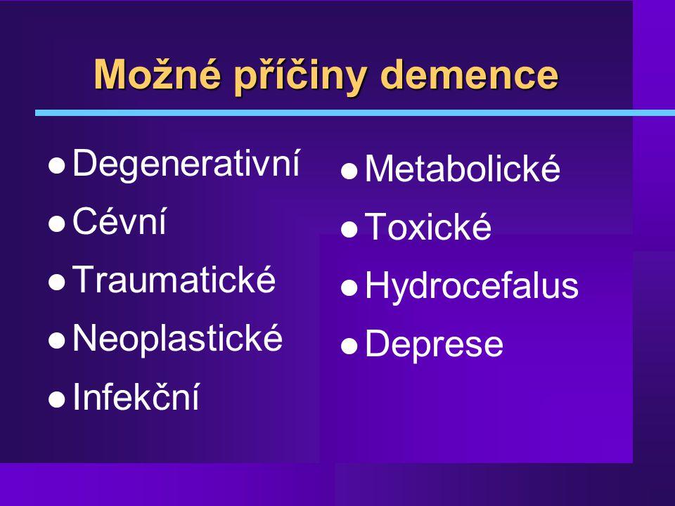 Možné příčiny demence Degenerativní Metabolické Cévní Toxické