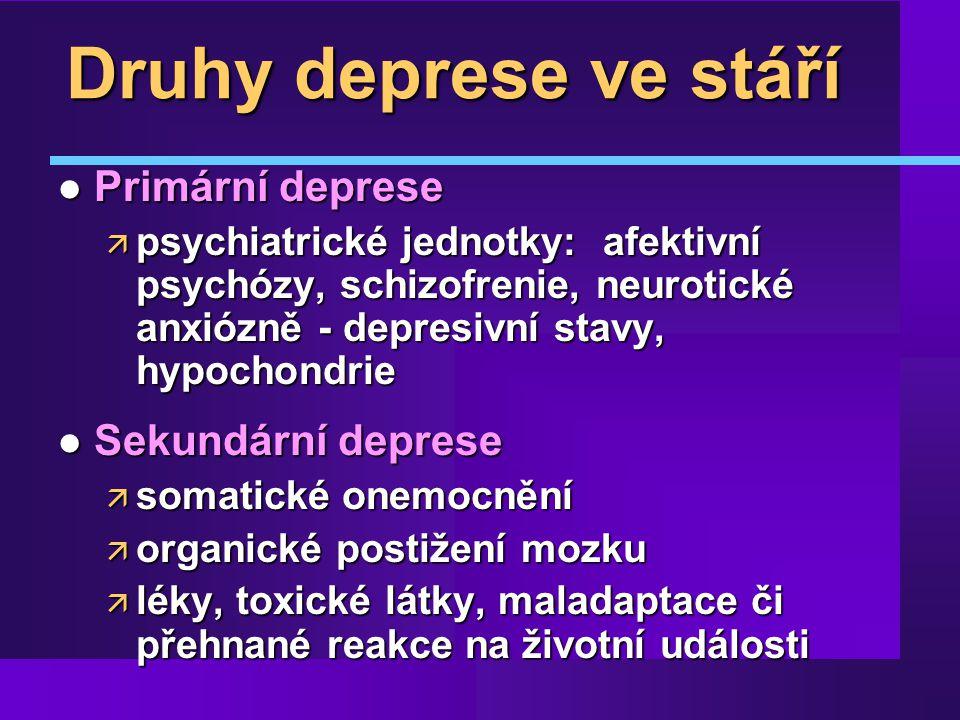 Druhy deprese ve stáří Primární deprese Sekundární deprese