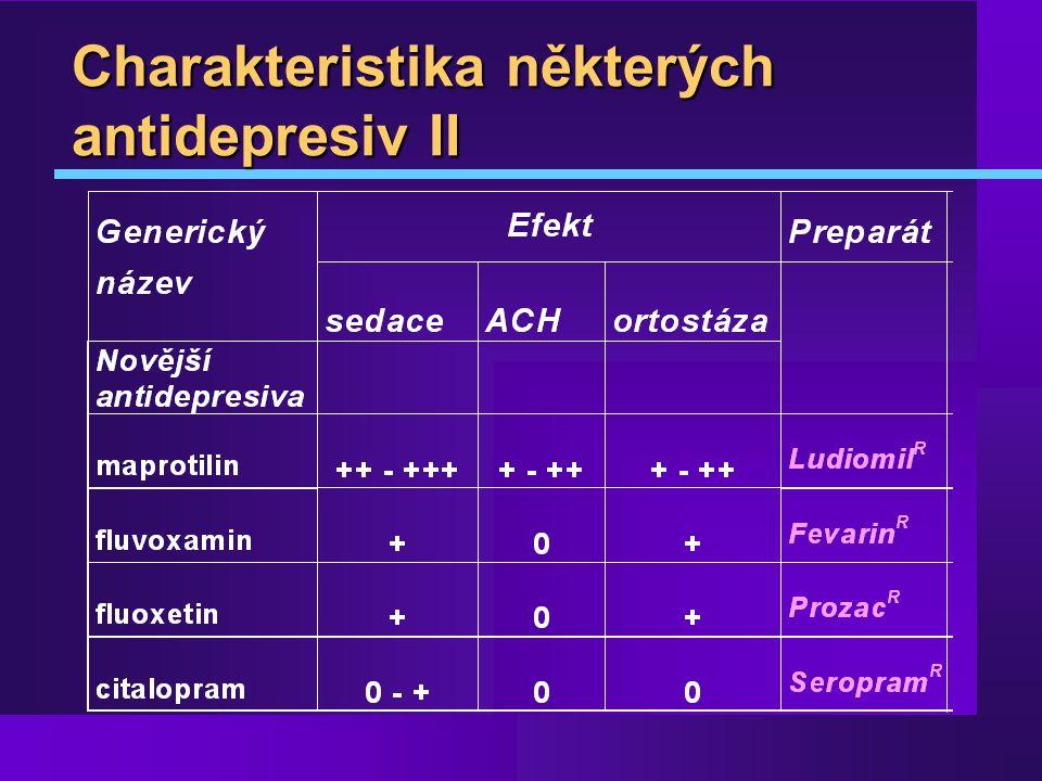 Charakteristika některých antidepresiv II