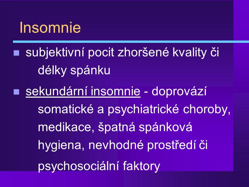 Insomnie subjektivní pocit zhoršené kvality či délky spánku
