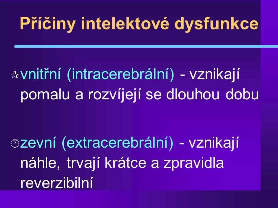 Příčiny intelektové dysfunkce