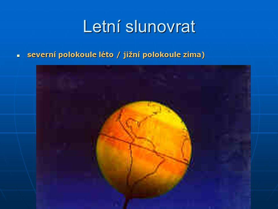 Letní slunovrat severní polokoule léto / jižní polokoule zima)