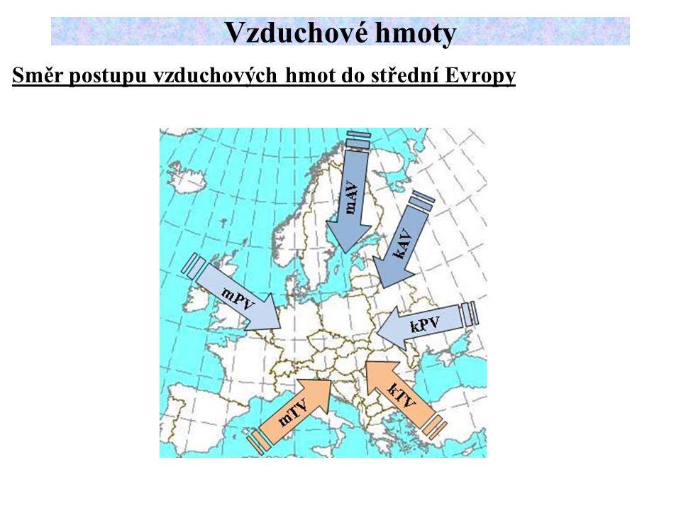 Vzduchové hmoty Směr postupu vzduchových hmot do střední Evropy