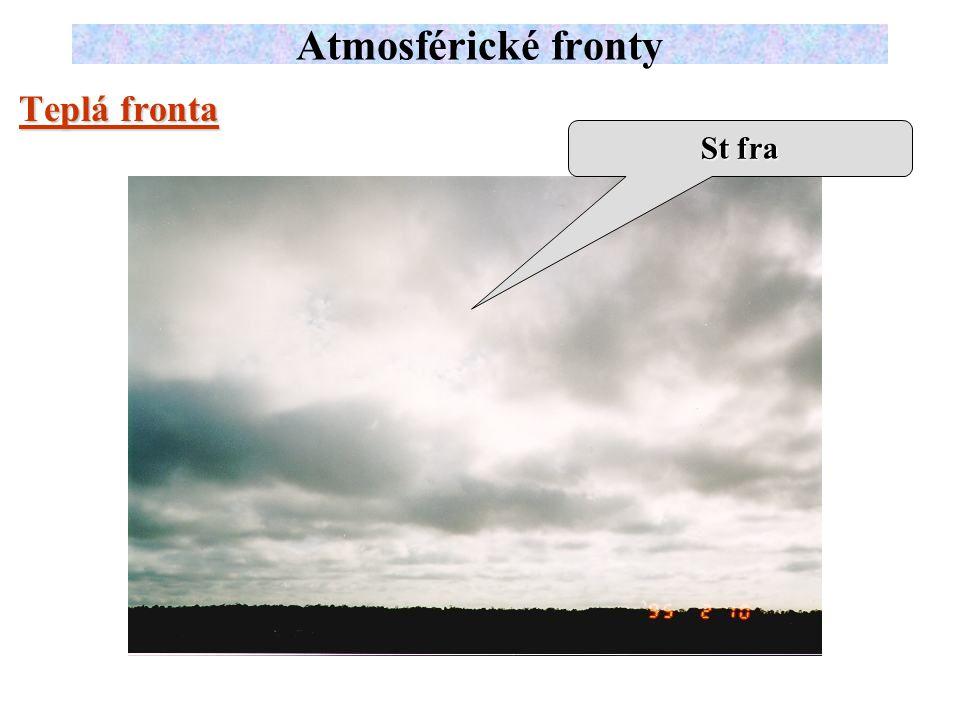 Atmosférické fronty Teplá fronta St fra