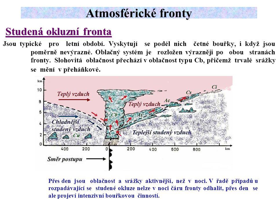 Atmosférické fronty Studená okluzní fronta