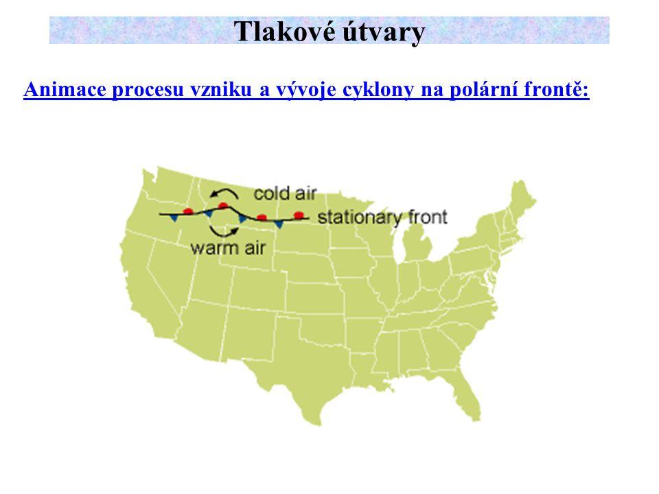 Tlakové útvary Animace procesu vzniku a vývoje cyklony na polární frontě:
