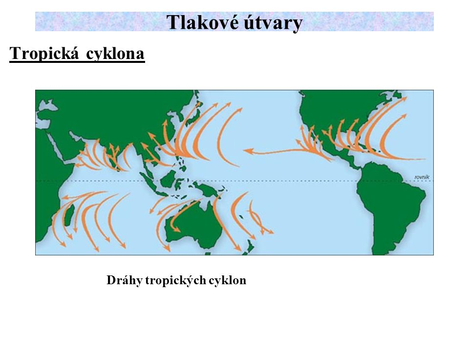 Tlakové útvary Tropická cyklona Dráhy tropických cyklon