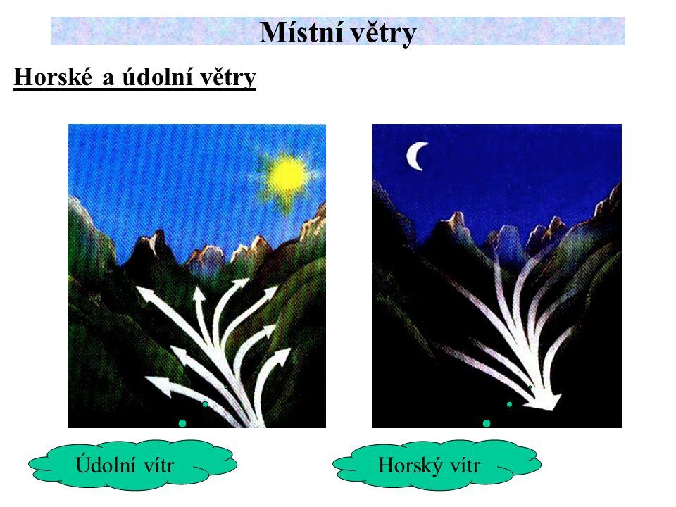 Místní větry Horské a údolní větry Údolní vítr Horský vítr