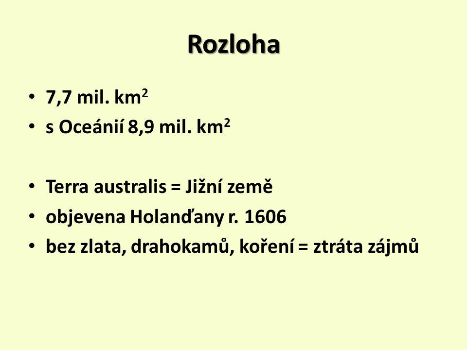 Rozloha 7,7 mil. km2 s Oceánií 8,9 mil. km2
