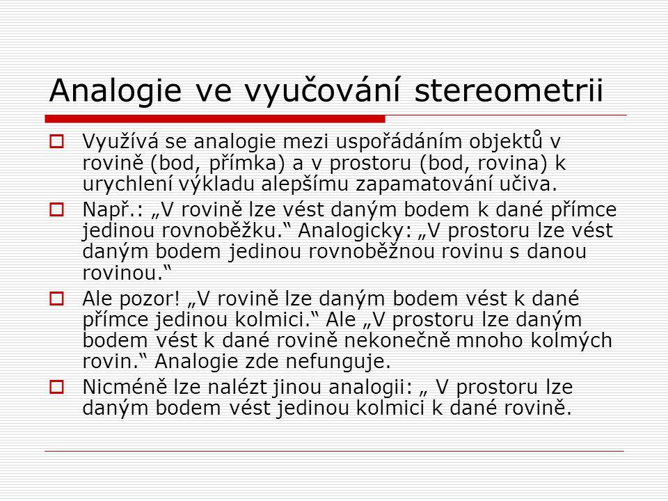 Analogie ve vyučování stereometrii
